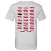 Lips & Lashes (strawberry shortcake) red lipstick kiss & Lipsense 50 Lip Color Swatches - (FRONT & BACK) - Bella & Canvas Unisex V-neck Jersey T-Shirt - 8 Colors Available Plus Size XS-3XL - MADE IN THE USA