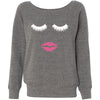 Lips & Lashes (white) Bella + Canvas - Women's Long Sleeve Sponge Fleece Wideneck Sweatshirt 6 Colors Available Size S-2XL - MADE IN THE USA