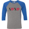 XOXO Lips Lipstick Kiss Print - Unisex Three-Quarter Sleeve Baseball T-Shirt - Bella & Canvas - 16 Colors Available Plus Size XS-2XL - MADE IN THE USA