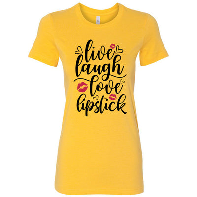 Live, laugh, love, lipstick - Bella + Canvas - Women's Short Sleeve Feminine T-shirt - 12 Colors Available Plus Size S-2XL - MADE IN THE USA