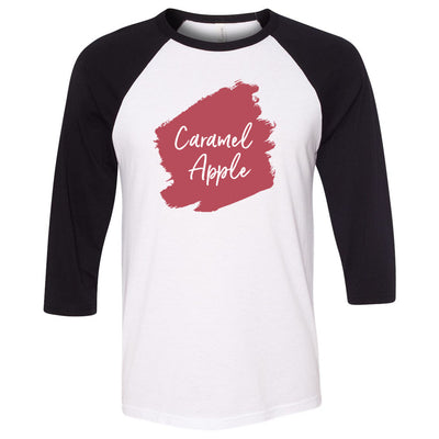 Lipsense CARAMEL APPLE Lip Color Lipstick Swipe - Unisex Three-Quarter Sleeve Baseball T-Shirt - Bella & Canvas - 16 Colors Available Plus Size XS-2XL - MADE IN THE USA