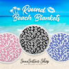 Blue Lips Lipstick Kiss Lip on White Round Beach Towel