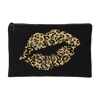 Leopard Lips Kiss Animal Print - Travel Makeup Accessory Cosmetic Tote or Money Bag Size: Small or Large