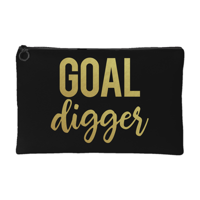 Goal Digger GOLD - Travel Makeup Accessory Cosmetic Tote or Money Bag Size: Small or Large