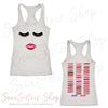 Lips & Lashes (strawberry shortcake) - & Lipsense 50 Shades Lip Color Swatches (Front & Back) - Ladies Racerback Tank Top Women - 4 colors available - PLUS Size XS-2XL MADE IN THE USA
