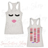 Lips & Lashes (Fleur de Lisa) - & Lipsense 50 Shades Lip Color Swatches (Front & Back) - Ladies Racerback Tank Top Women - 4 colors available - PLUS Size XS-2XL MADE IN THE USA