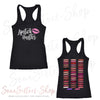 Lipstick Hustler (pink) & Lipsense 50 Shades Lip Color Swatches (Front & Back) - Ladies Racerback Tank Top Women - 4 colors available - PLUS Size XS-2XL MADE IN THE USA