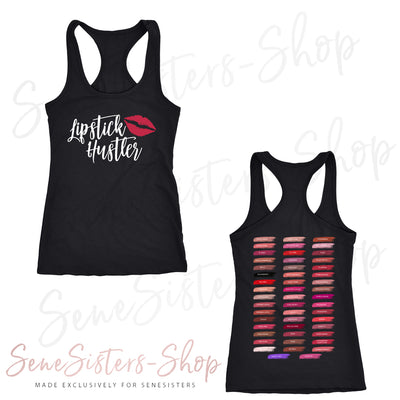 Lipstick Hustler Lips (strawberry shortcake) - & Lipsense 50 Shades Lip Color Swatches (Front & Back) - Ladies Racerback Tank Top Women - 4 colors available - PLUS Size XS-2XL MADE IN THE USA