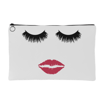Lips & Lashes (strawberry shortcake) Travel Makeup Accessory Cosmetic Tote or Money Bag Size: Small or Large