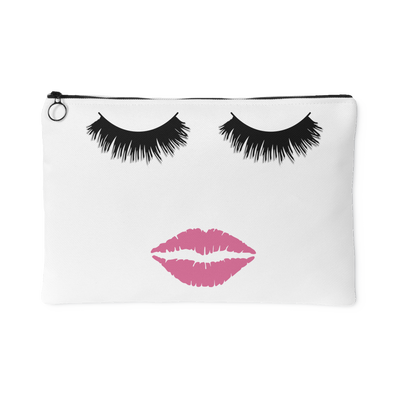 Lips & Lashes (Fleur de Lisa) Travel Makeup Accessory Cosmetic Tote or Money Bag Size: Small or Large