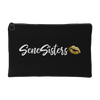 SeneSisters Gold Lips - Black Travel Makeup Accessory Cosmetic Tote or Money Bag Size: Small or Large