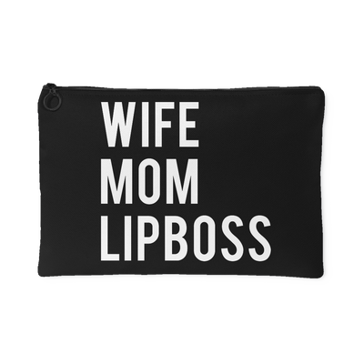 Wife-Mom-LipBoss - Travel Makeup Accessory Cosmetic Tote or Money Bag Size: Small or Large