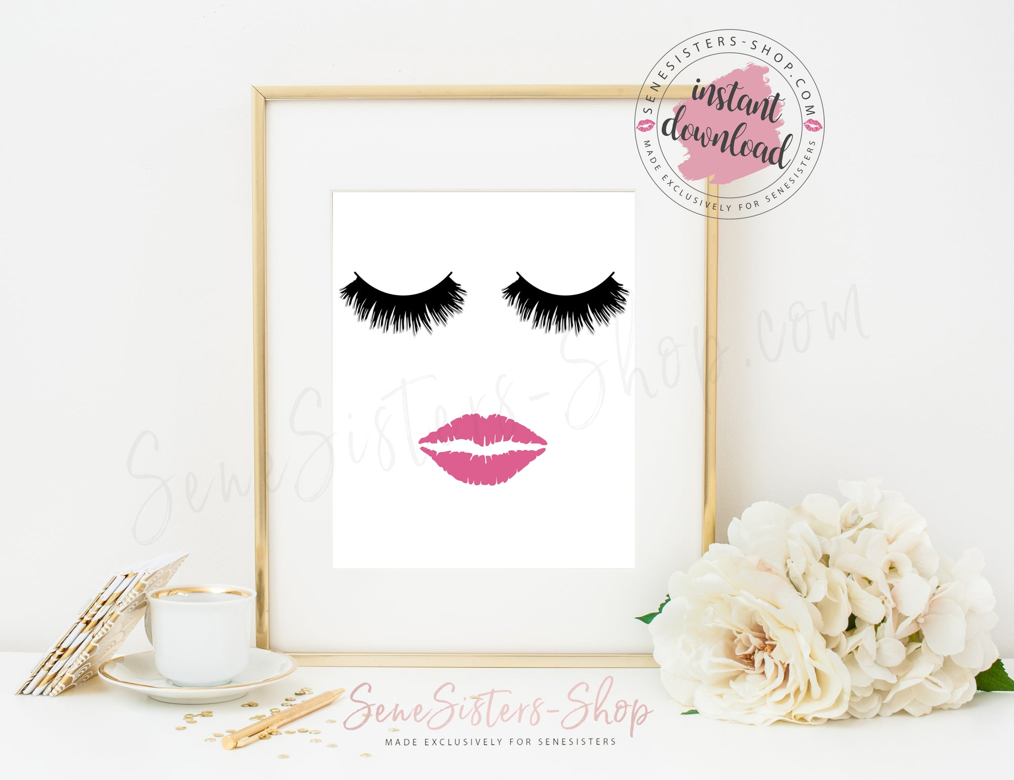 photo about Printable Lips called Electronic Artwork / 8x10 / Prompt Down load / Printable - Lips Lashes (Fleur de Lisa)