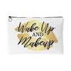 Wake up and Makeup Gold Lips - Travel Makeup Accessory Cosmetic Tote or Money Bag Size: Small or Large