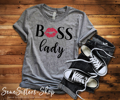 Boss Lady Lips - Bella & Canvas - O-neck Unisex Short Sleeve Jersey Tee - 12 Colors Available Plus Size XS-4XL - MADE IN THE USA
