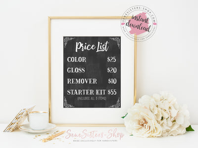 Digital Art / 8x10 / Instant Download / Printable / Chalkboard Price List / Color-Gloss-Remover-Starter