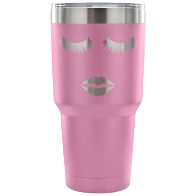 Lips & Lashes -  30oz Engraved / Etched Stainless Steel Tumbler Travel Mug | Hot or Cold |  7 Colors Available