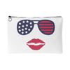 Patriotic Stars & Stripes Sunglasses & Lips - Travel Makeup Accessory Cosmetic Tote or Money Bag Size: Small or Large