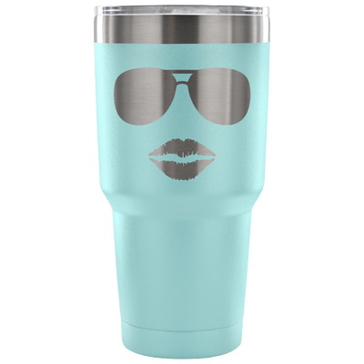 Sunglasses & Lips - 30 oz Engraved / Etched Stainless Steel Tumbler Travel Mug | Hot or Cold | 7 Colors Available