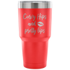 Curvy Hips & Pretty Lips - 30 oz Engraved / Etched Stainless Steel Tumbler Travel Mug | Hot or Cold | 7 Colors Available