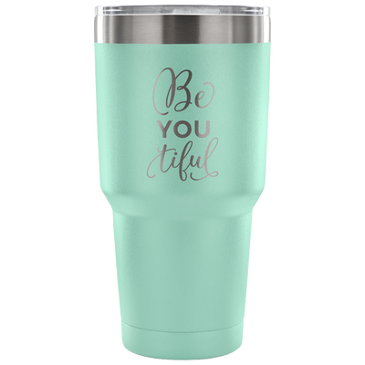 BeYOUtiful - 30 oz Engraved / Etched Stainless Steel Tumbler Travel Mug | Hot or Cold | 7 Colors Available
