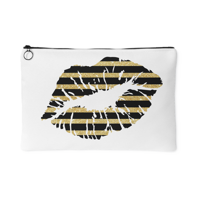 Black & Gold Glitter Stripes Lips Lipstick Kiss - Travel Makeup Accessory Cosmetic Tote or Money Bag Size: Small or Large