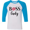 BOSS Lady Lips Kiss - Unisex Three-Quarter Sleeve Baseball T-Shirt - Bella & Canvas - 16 Colors Available Plus Size XS-2XL - MADE IN THE USA
