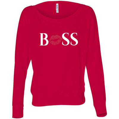 BOSS Lips - Off the Shoulder Long sleeve Flowy Feminine Wide Neck Tee - Bella Brand Shirt - 7 Colors Available Plus Size XS-2XL - MADE IN THE USA