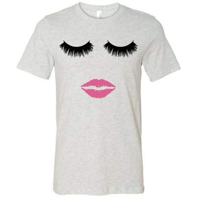 Lips & Lashes (fleur de lisa) - Bella & Canvas - O-neck Unisex Short Sleeve Jersey Tee - 12 Colors Available Plus Size XS-4XL - MADE IN THE USA