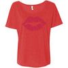 Lipstick Kiss Lips (strawberry shortcake) + Lipsense 50 Shades Lip Color Swatches (Front & Back) Bella Brand Ladies Slouchy Tee Feminine Women T-shirt - 7 colors available PLUS Size S-2XL MADE IN THE USA