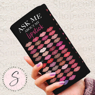 Ask Me About My Lipstick Lipsense 50 Lip Color Swatches Lipstick Kisses BLACK Women's Wallet Clutch Purse