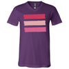 shades of pink stripes - Bella & Canvas Unisex V-neck Jersey T-Shirt - 11 Colors Available Plus Size XS-3XL - MADE IN THE USA