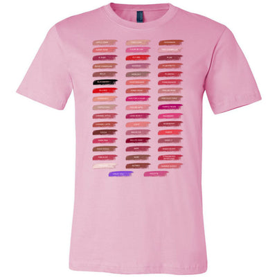 Lipsense 50 Shades Lip Color Swatches Tee - Bella & Canvas - O-neck Unisex Short Sleeve Jersey Tee - 12 Colors Available Plus Size XS-4XL - MADE IN THE USA
