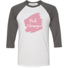 Lipsense PINK CHAMPAGNE Lip Color Lipstick Swipe - Unisex Three-Quarter Sleeve Baseball T-Shirt - Bella & Canvas - 16 Colors Available Plus Size XS-2XL - MADE IN THE USA