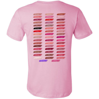 Lipboss & Lipsense 50 Lip Color Swatches -  (FRONT & BACK) - Bella & Canvas Unisex O-neck Jersey T-Shirt - 12 Colors Available Plus Size XS-4XL - MADE IN THE USA