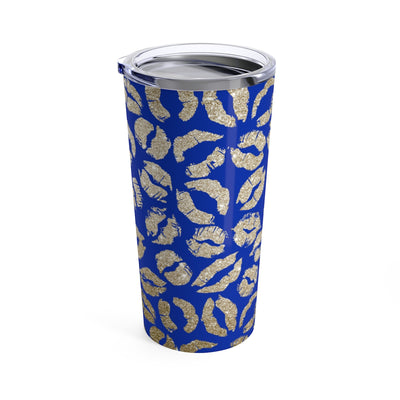 Gold Glitter Lips Lipstick Kiss Print on Blue Stainless Steel Tumbler Travel Mug 20OZ