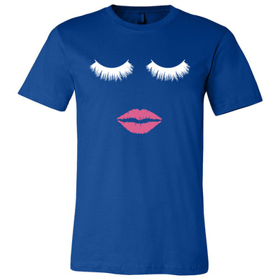 Lips & Lashes (white) Bella & Canvas - O-neck Unisex Short Sleeve Jersey Tee - 12 Colors Available Plus Size XS-4XL - MADE IN THE USA