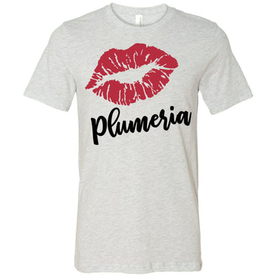 Lipstick Kiss Lips Print - Lipsense: PLUMERIA - Bella & Canvas - O-neck Unisex Short Sleeve Jersey Tee - 8 Colors Available Plus Size XS-4XL - MADE IN THE USA