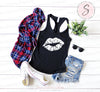 Lipstick slanted Lips Kiss Print Design (white) - Ladies Racerback Tank Top Women - 13 colors available - PLUS Size XS-2XL MADE IN THE USA