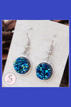Glittery Druzy Sparkle Blue Dangle Earrings