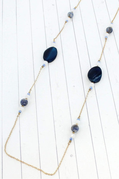 Blue Stone & Bead Worn Goldtone Necklace