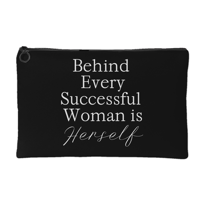 Behind Every Successful Woman is Herself - Travel Makeup Accessory Cosmetic Tote or Money Bag Size: Small or Large