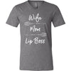 Wife-Mom-Lip boss (arrows) Bella & Canvas Unisex V-neck Jersey T-Shirt - 12 Colors Available Plus Size XS-3XL - MADE IN THE USA