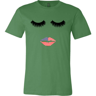 Lips & Lashes USA American Flag Patriotic Print - Bella & Canvas Unisex O-neck Jersey T-Shirt - 12 Colors Available Plus Size XS-4XL - MADE IN THE USA