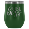 Girl Boss - 12 oz Stemless Wine Tumbler | Etched / Engraved Stainless Steel Mug Hot/Cold Cup - 12 Colors Available