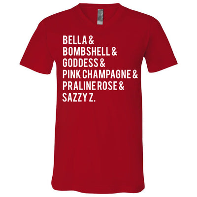 Lipsense Lip Color List - Bella & Canvas Unisex V-neck Jersey T-Shirt - 12 Colors Available Plus Size XS-3XL - MADE IN THE USA