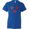 Patriotic Stars & Stripes Sunglasses with Red Lips - Bella & Canvas - Kids Short Sleeve Crewneck Jersey Tee Youth T-shirt - 7 colors available Size S/M/L MADE IN THE USA