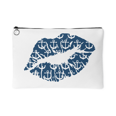 Anchor Lips Lipstick Kiss - Travel Makeup Accessory Cosmetic Tote or Money Bag Size: Small or Large