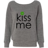KISS ME - St. Patricks Day green lips - Bella + Canvas - Women's Long Sleeve Sponge Fleece Wideneck Sweatshirt 5 Colors Available Size S-2XL - MADE IN THE USA