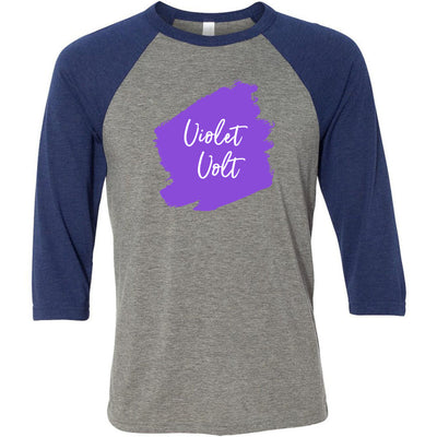 Lipsense VIOLET VOLT Lip Color Lipstick Swipe - Unisex Three-Quarter Sleeve Baseball T-Shirt - Bella & Canvas - 16 Colors Available Plus Size XS-2XL - MADE IN THE USA